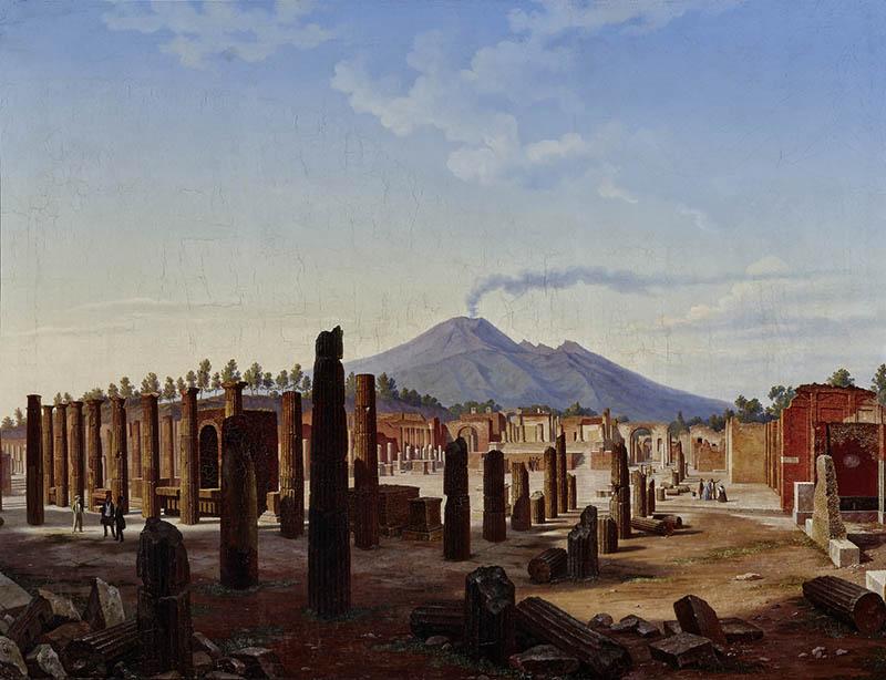 Форум в Помпеях на фоне Везувия. Хьюберт Саттлер