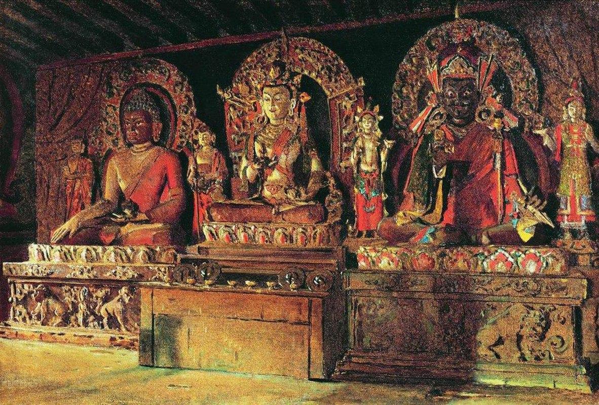 Три главных божества в буддийском монастыре Чингачелинг в Сиккиме. Верещагин Василий Васильевич
