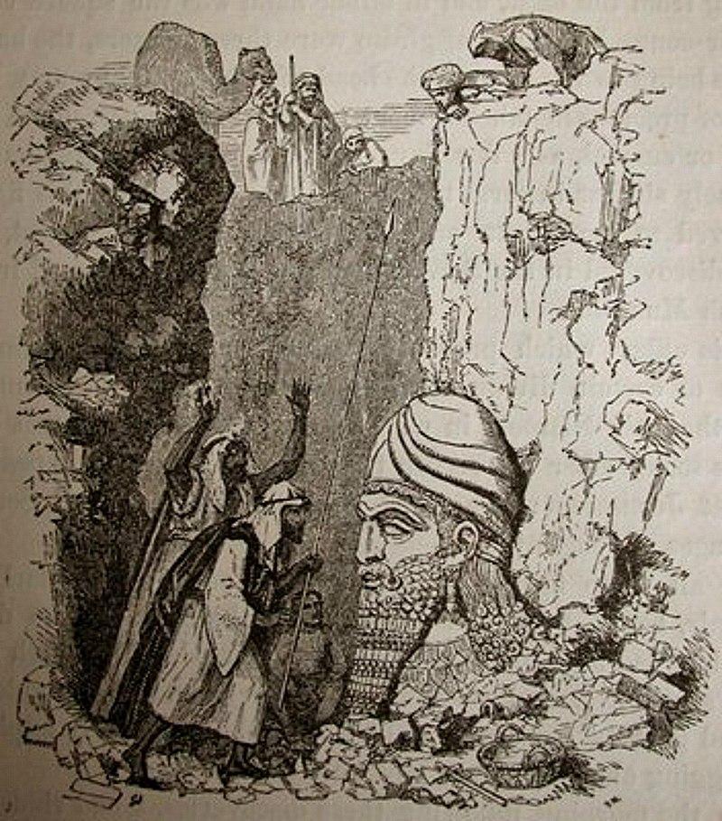 Полузасыпанный ассирийский бог. Генри Лейард