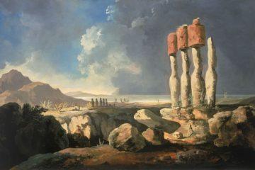 Вид на памятники острова Пасхи, Рапа Нуи. Уильям Ходжес