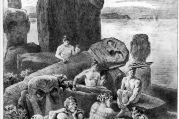 Упавшие статуи моаи и черепа на Рапа Нуи. Пьер Лоти