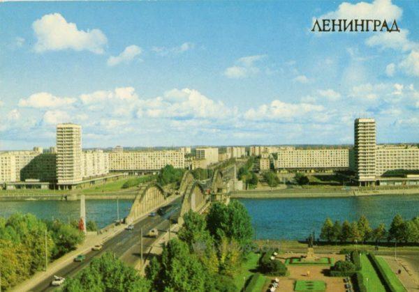 Ленинград. Вид на Октябрьскую набережную, 1983 год