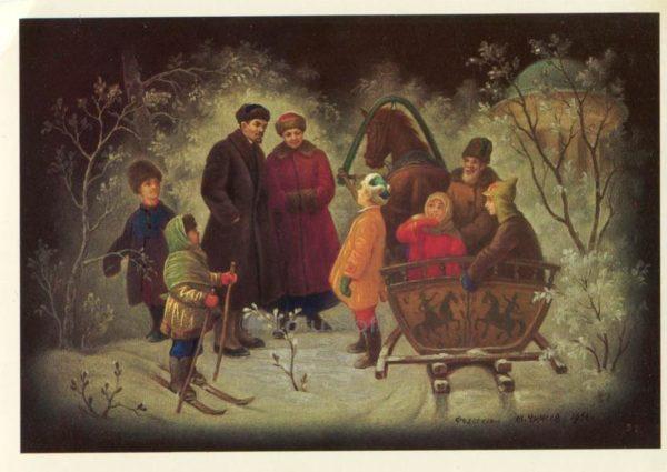 Ленин и Крупская среди детей. М.Чижов, 1983 год