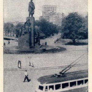 Вид на памятник Т.Шевченко, 1946 год