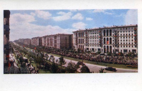 На Ленинском проспекте в день встречи космонавтов. Москва, 1968 год