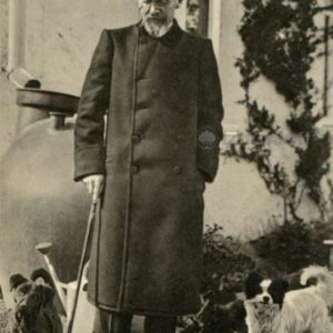 Anton Chekhov outside his house in Yalta with dogs dinghy and chestnuts April 18, 1904 g, 1970