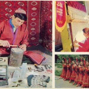 "Master engraver. Turkmen dance ""Girly game."" Ashgabat workshop sewing factory, 1974"
