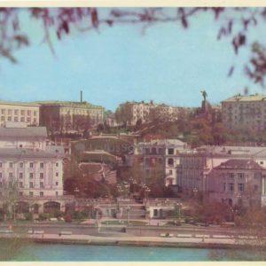 Вид на город с моря. В центра - Синопская лестница. Севастополь, 1977 год