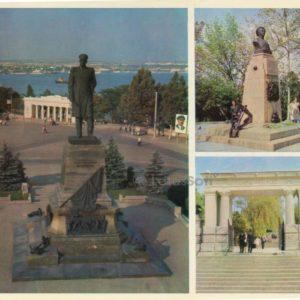Памятник адмиралу П. С. Нахимову. Памятник матросу П. Кошке. Вход на Малахов курган. Севастополь, 1977 год