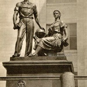 Moscow State University. Sculptural group at the entrance to the club, 1953