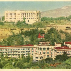 "Kislovodsk. View of the sanatorium ""Mountain Peaks"" and the sanatorium ""Russia"", 1963"