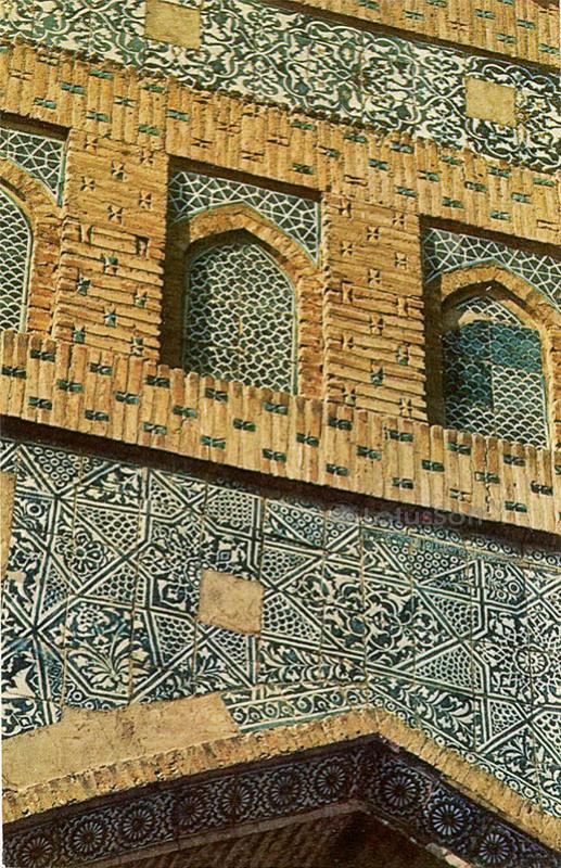Mausoleum Pakhlavan Mahmoud. A fragment of the fresco, 1971
