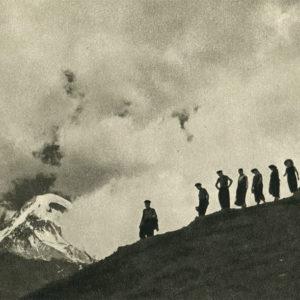 Georgian Military Road. Tourists on the way to the Gergeti Glacier, 1955