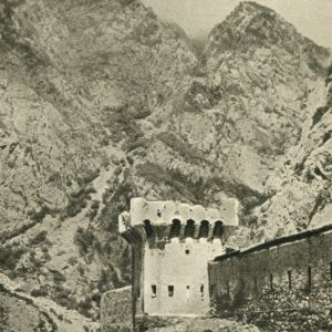 Georgian Military Road. Ancient fortress guarding the road to Georgia through the Daryal Gorge, 1955