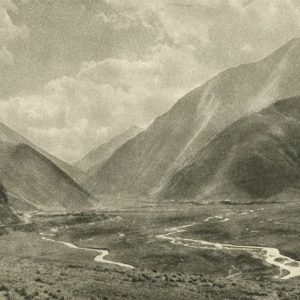 Georgian Military Road. For the village of Kazbegi road descends into the broad river valley, 1955