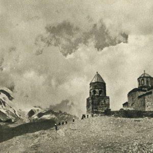 Georgian Military Road. Ancient monastery Tsminda-Sameba on the path to Kazbek, 1955