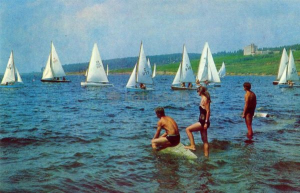 Tolyatti. Yacht at the Kuibyshev Sea, 1972