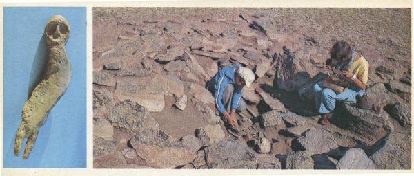 Каменная статуэтка найденная на Байкале. Археологи за работой, 1978 год