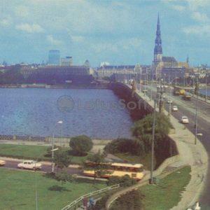Вид на Октябрьский мост. Рига, 1981 год