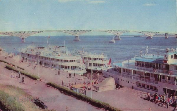 Passenger moorings river station. Saratov, 1972