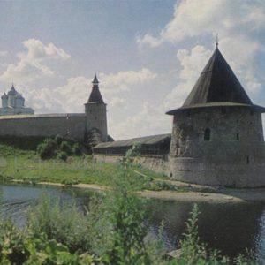 Кром. Вид со стороны Псковы. Псков, 1969 год
