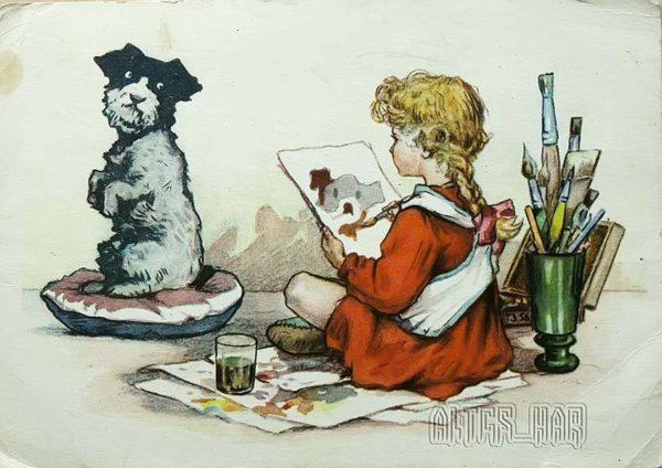 Открытки для детей. Юный художник, 1956 год