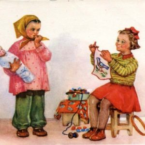 Cards for children. I know how to sew, 1956
