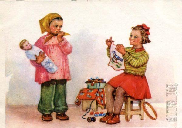 Открытки для детей. Я умею вышивать, 1956 год