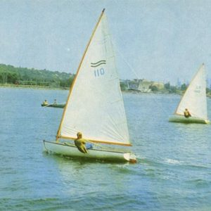 Yachts in the sea. Mariupol, 1978