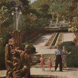 """Cascade stairs. Fountain """"Stone Flower"""". Zheleznovodsk, 1961"""