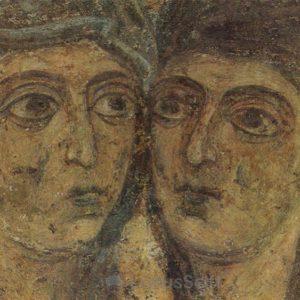Kissing Mary and Elizabeth. Fragment. Fresco. Sophia Cathedral, 1973