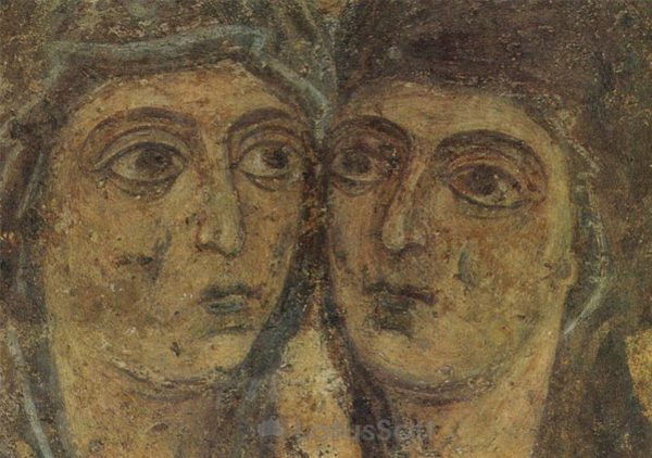 Kissing Mary and Elizabeth. Fragment. Fresco. Sophia Cathedral, 1973