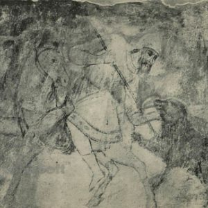 Bear hunting. Fresco. Sophia Cathedral, 1973