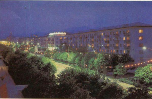 Проспект Ленина ночью. Нальчик, 1985 год