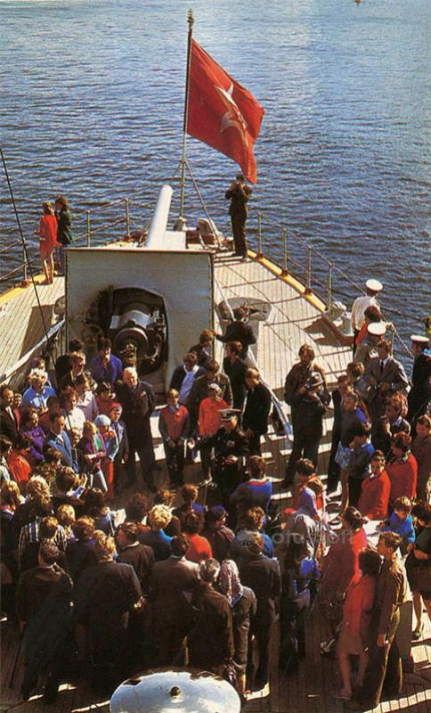 """Tour group on the deck of the cruiser. The cruiser """"Aurora"""", 1977"""