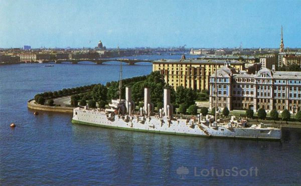 "Petrogradskaya embankment Big Neva. The cruiser ""Aurora"", 1977"