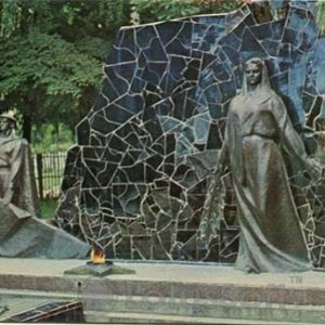 Krasilov city. The memorial complex in honor of soldiers who died during the war, in 1978