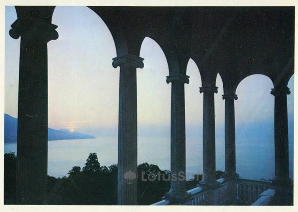Sea view from the colonnade of the palace. Livadia Palace, 1978