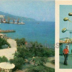 Вид на набережную и морской порт. Уголок детских аттракционов. Ялта, 1980 год
