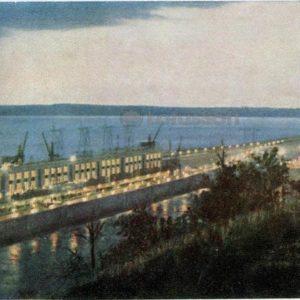 The lights of the Kuibyshev hydroelectric station. Kuibyshev, 1964