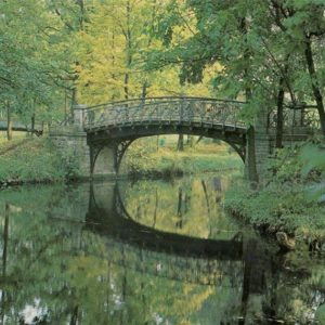 Iron bridge in the park. Gatchina, 1984