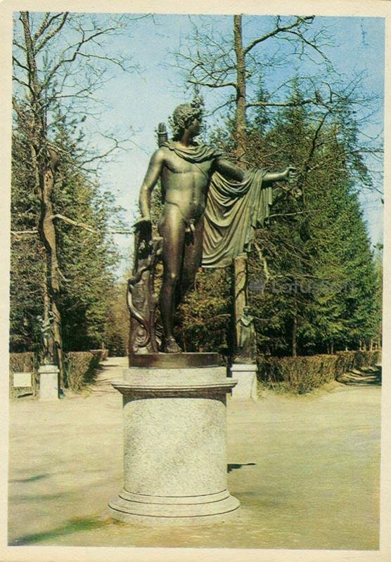 Apollo statue at the site of the Twelve tracks. Pavlovsk, 1972