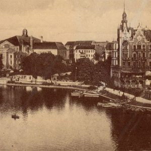 View of the City Hall of the concern on the part of the Castle Pond. Kliningrad, Konigsberg), 1990