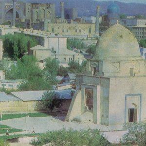 General view of the city, Rukhabad mausoleum. Samarkand, 1982