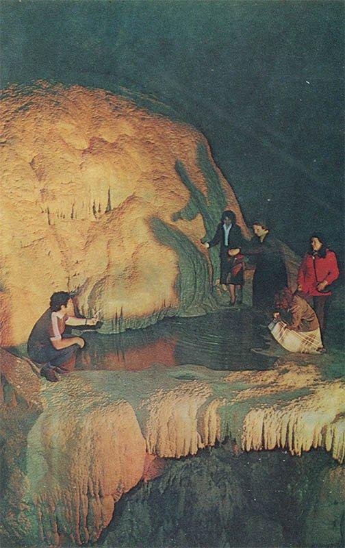 """В зале """"Грузинских спелеологов"""". Ново-Афонская пещера, 1980 год"""