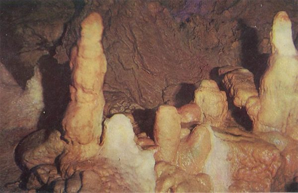 """Stalagmites in the Hall """"Canyon"""". New Athos Cave, 1980"""