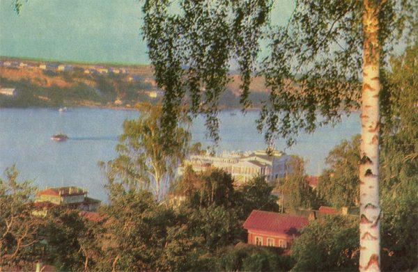 Вид на пристань со стороны дома отдыха ВТО. Плес, 1968 год