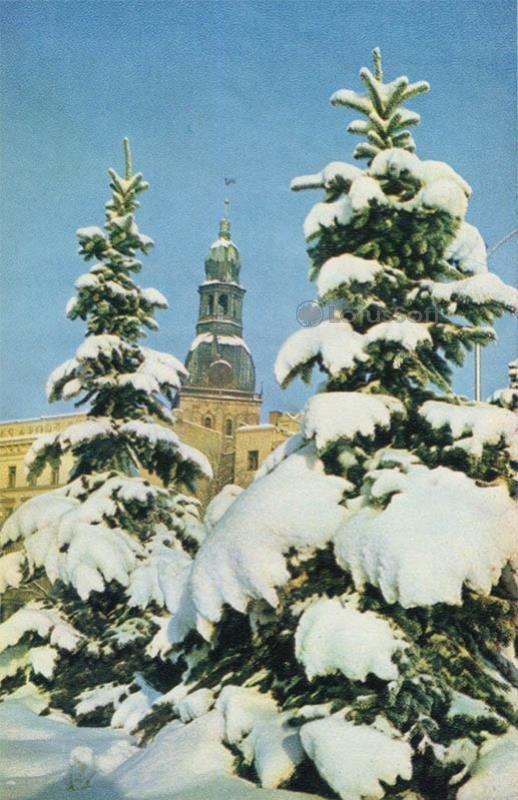 Площадь Коммунаров зимой. Рига, 1971 год