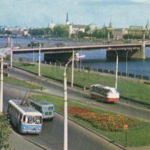 Daugava Embankment. October bridge. Riga, 1971