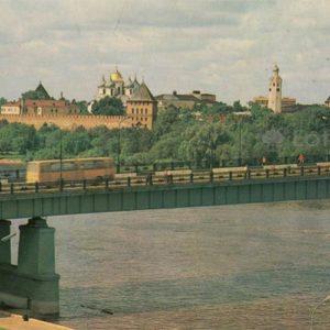 Мост через Волхов и панорама детинца. Новогород, 1982 год